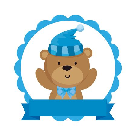 lace with little bear teddy and hat vector illustration design Banque d'images - 129237976