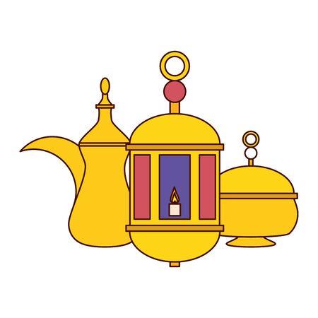 lantern tea pot ramadan kareem celebration vector illustration design Illustration