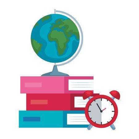 pile textbooks with alarm clock and earth map vector illustration design Ilustração