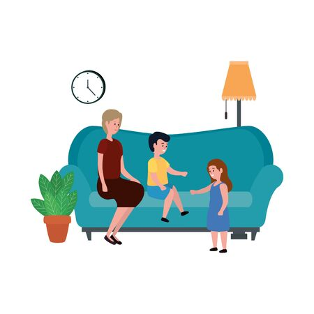 cute grandmother with kids in the sofa characters vector illustration design