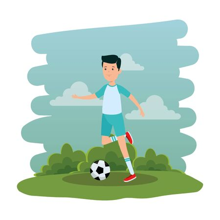 happy athletic boy practicing football soccer in the park vector illustration design