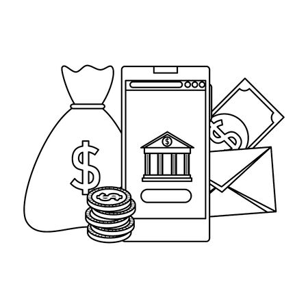 smartphone with bank building and money icons vector illustration design Stock Vector - 129238260