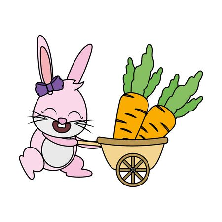 cute rabbit carrying carrots vector illustration 向量圖像