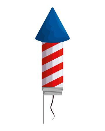 firework rocket with united states of america flag vector illustration design
