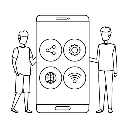 young men with smartphone and social media menu vector illustration design 写真素材 - 129341224