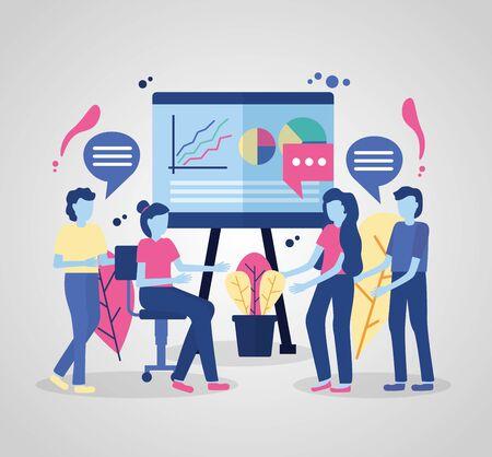 business people report presentation talking vector illustration