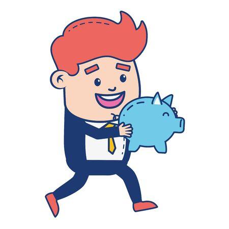 businessman piggy bank online banking vector illustration