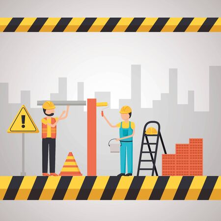 workers construction stairs bricks painting roller equipment vector illustration Ilustração