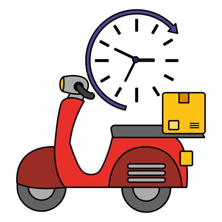 motorcycle box clock fast delivery business vector illustration Zdjęcie Seryjne - 129257251