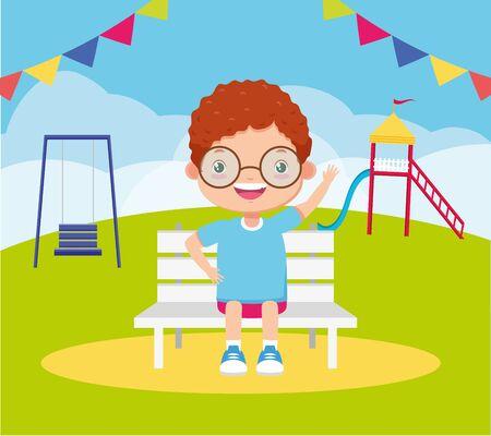 boy sitting park bench playground kids zone vector illustration Ilustração