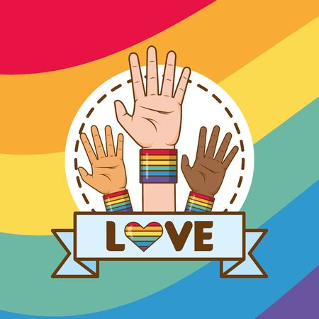 hands with rainbow colors lgbt pride love vector illustration Ilustracja