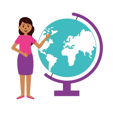 woman with school globe teachers day card vector illustration