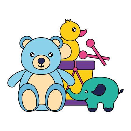 kids toys bear elephant drum duck vector illustration