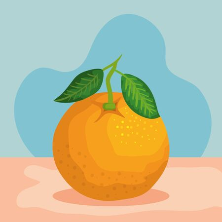 delicious orange fruits nutrition with leaves to healthy vitamin, vector illustration Illustration