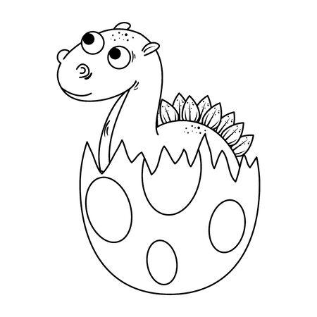 newborn diplodocus breaking the shell vector illustration design