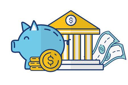 bank piggy coins banknote online payment vector illustration