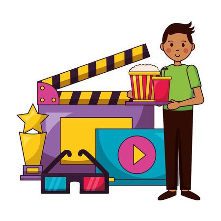 food snack and clapboard 3d glasses and award film movie vector illustration
