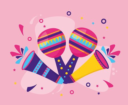 carnival maracas and fireworks vector illustration design