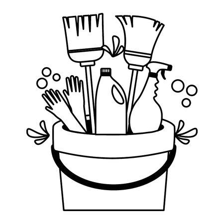 bucket broom gloves spray spring cleaning tools vector illustration Illustration