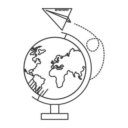 globe paper plane school supplies vector illustration design Stock Illustratie