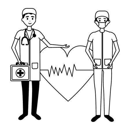 medical people staff professional heartbeat suitcase vector illustration vector illustration Ilustrace