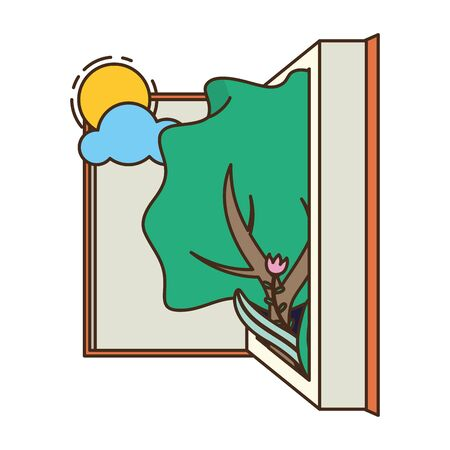 open book tree sun landscape - world book day vector illustration Ilustrace