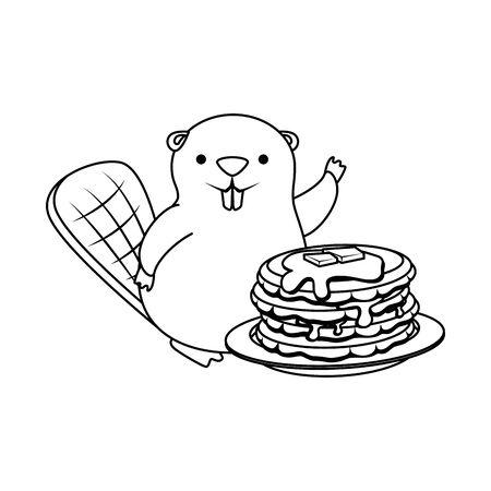 cute beaver mascot with sweet pancakes vector illustration design 向量圖像