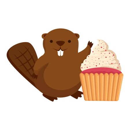 cute beaver mascot with sweet cupcake vector illustration design