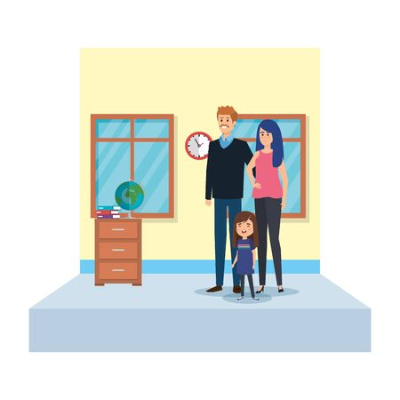 teachers couple and student girl in school classroom vector illustration design Ilustração