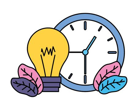 clock time and bulb leaves vector illustration vector illustration Ilustração