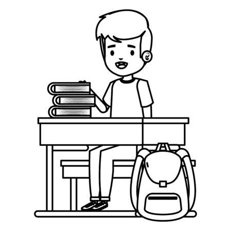 student boy seated in school desk with books and bag vector illustration design Standard-Bild - 129257717