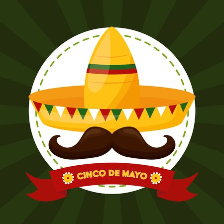 hat mustache mexico cinco de mayo sticker vector illustration 스톡 콘텐츠 - 129257750