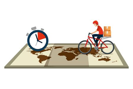 worker of delivery service in bicycle with chronometer and map vector illustration Illustration