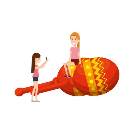 young girls with maracas instruments vector illustration design Ilustrace
