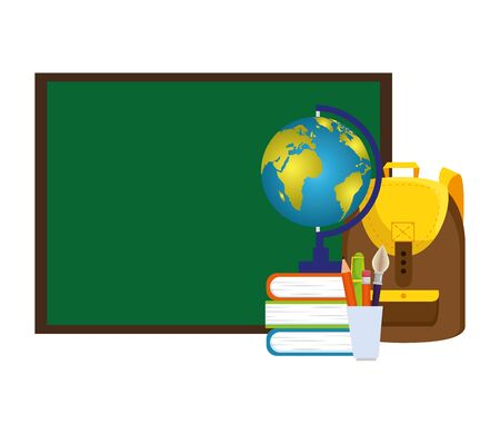 chalkboard and world map with school supplies vector illustration design