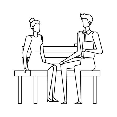elegant business couple seated in the park chair vector illustration design Stock Vector - 129320659