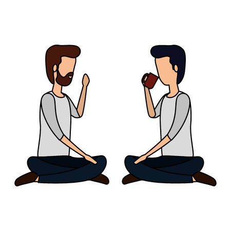 businessmen drinking coffee seated in lotus position vector illustration design