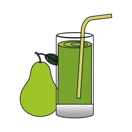 glass with juice of fresh pears fruits vector illustration design