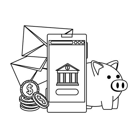 smartphone with bank building app and envelopes money vector illustration
