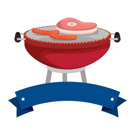 bbq grill with meat and sausages vector illustration design