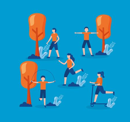 people practicing exercise world health day vector illustration Illustration