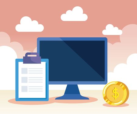 computer technology with document and coin cash money to business strategy, vector illustration