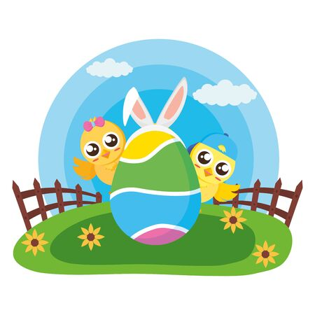 happy easter couple chicks egg decoration vector illustration