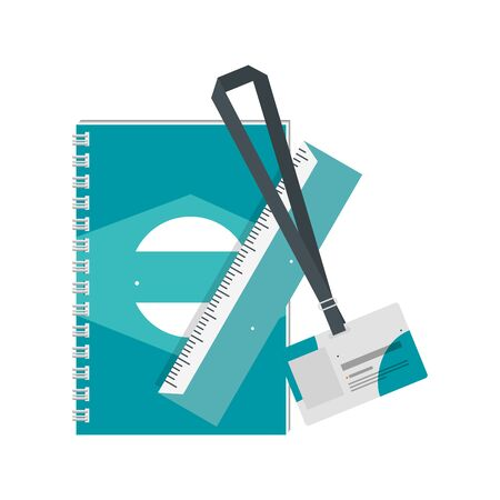 notepad and ruler ,document with company emblem print vector illustration design