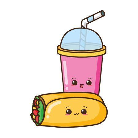 cartoon burrito and soda character vector illustration Banque d'images - 129341505