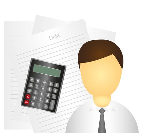 businessman over white papers and calculator. vector