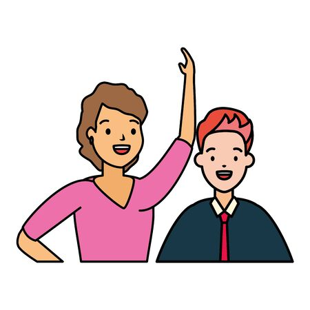 diversity man and woman characters on white background vector illustration