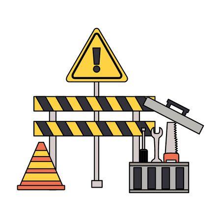 construction barrier cone box tools vector illustration Ilustração