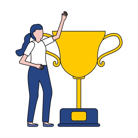 woman trophy award on white background vector illustration Иллюстрация