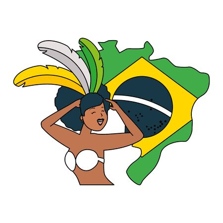 dancers exotic feathers flag map brazil carnival vector illustration  イラスト・ベクター素材